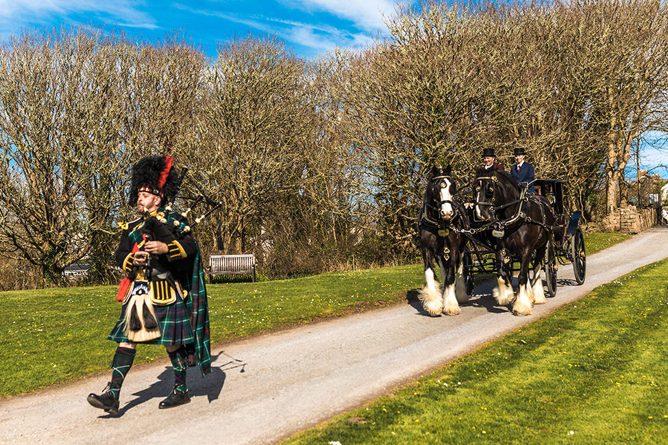 bagpiper for weddings at Manorbier Castle