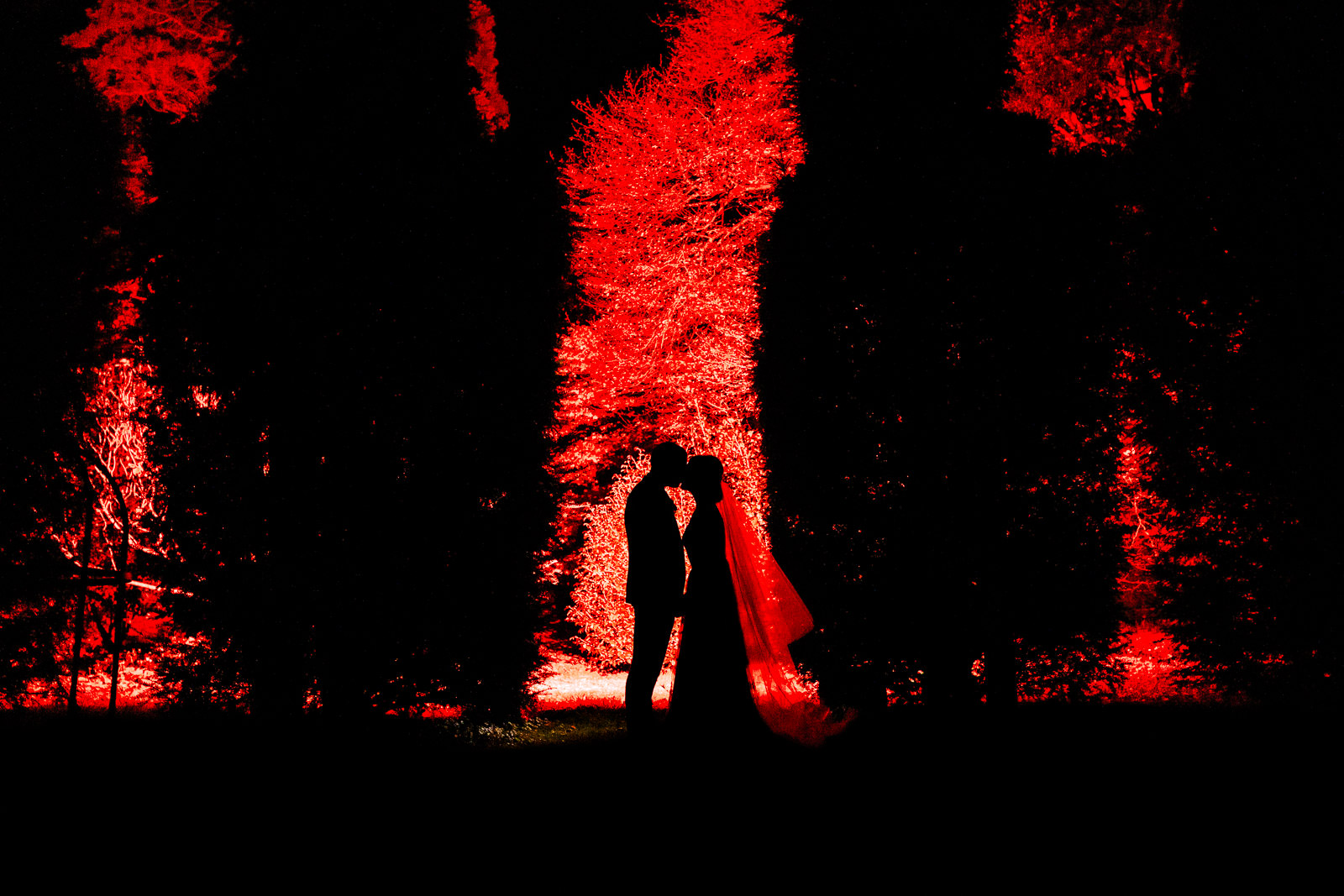 Miskin Manor Wedding Photography - Art by Design Photography - Night-time portrait