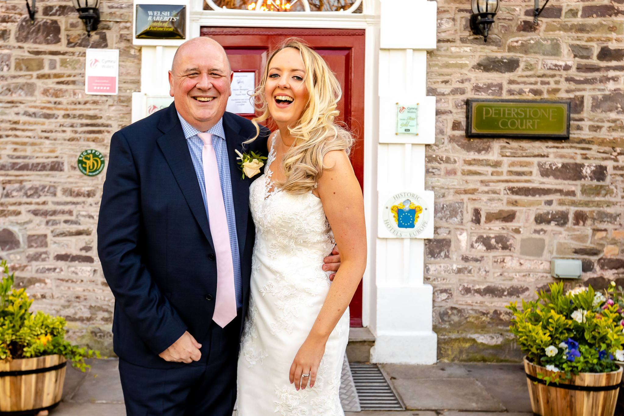 Bride and dad - Peterstone Court wedding