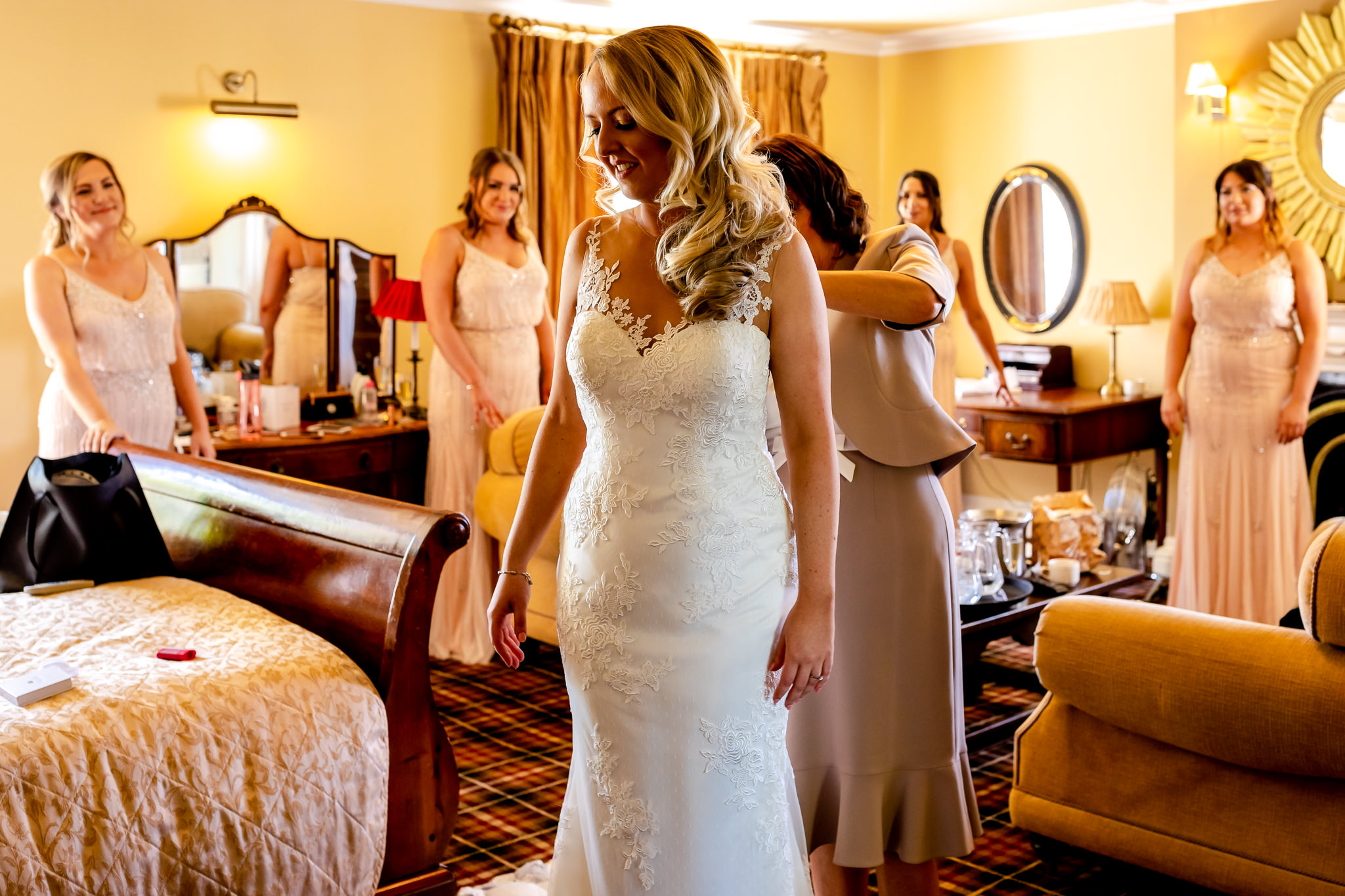 Bride and bridesmaids - Peterstone Court wedding
