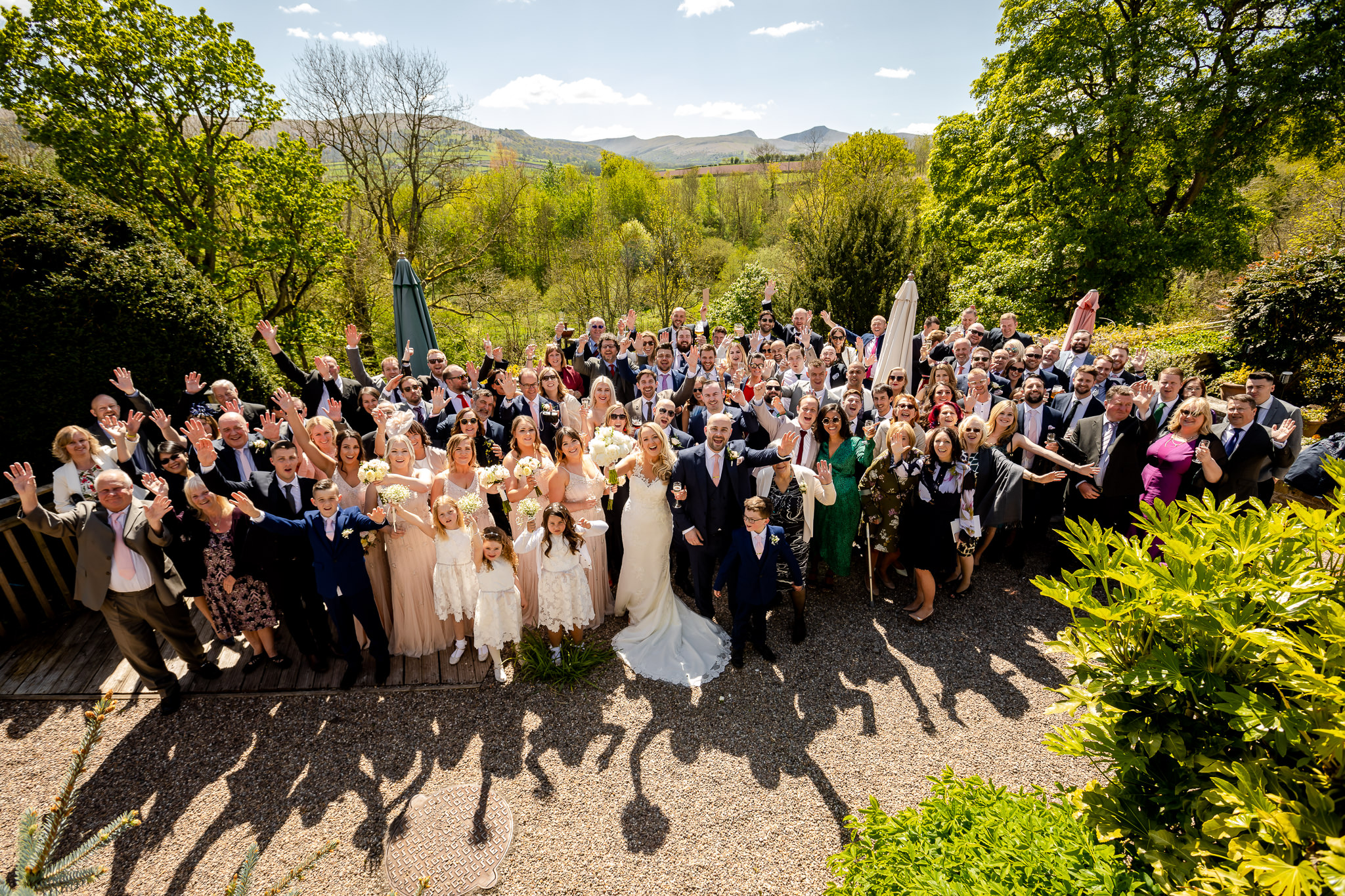 Peterstone court wedding group photo
