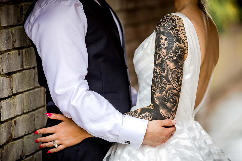 Newport Wedding Photographer - Peterstone Lakes - Bride with Tattoos