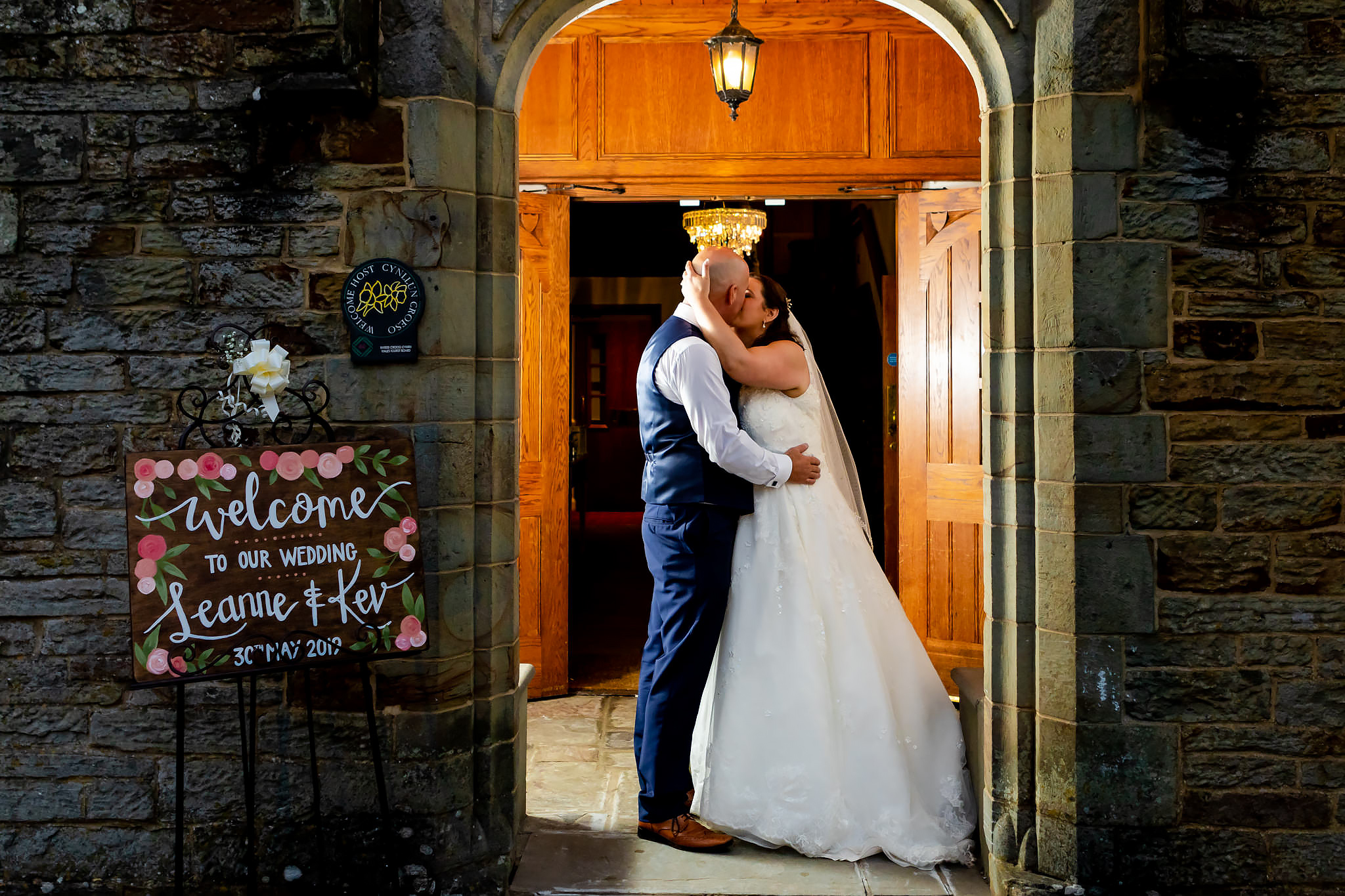 Bryngarw House Wedding Photography - Bride and Groom in doorway