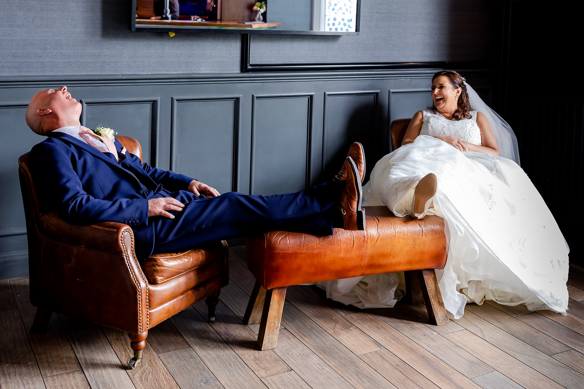 Bryngarw House Wedding Photography - Bride and Groom in the bar