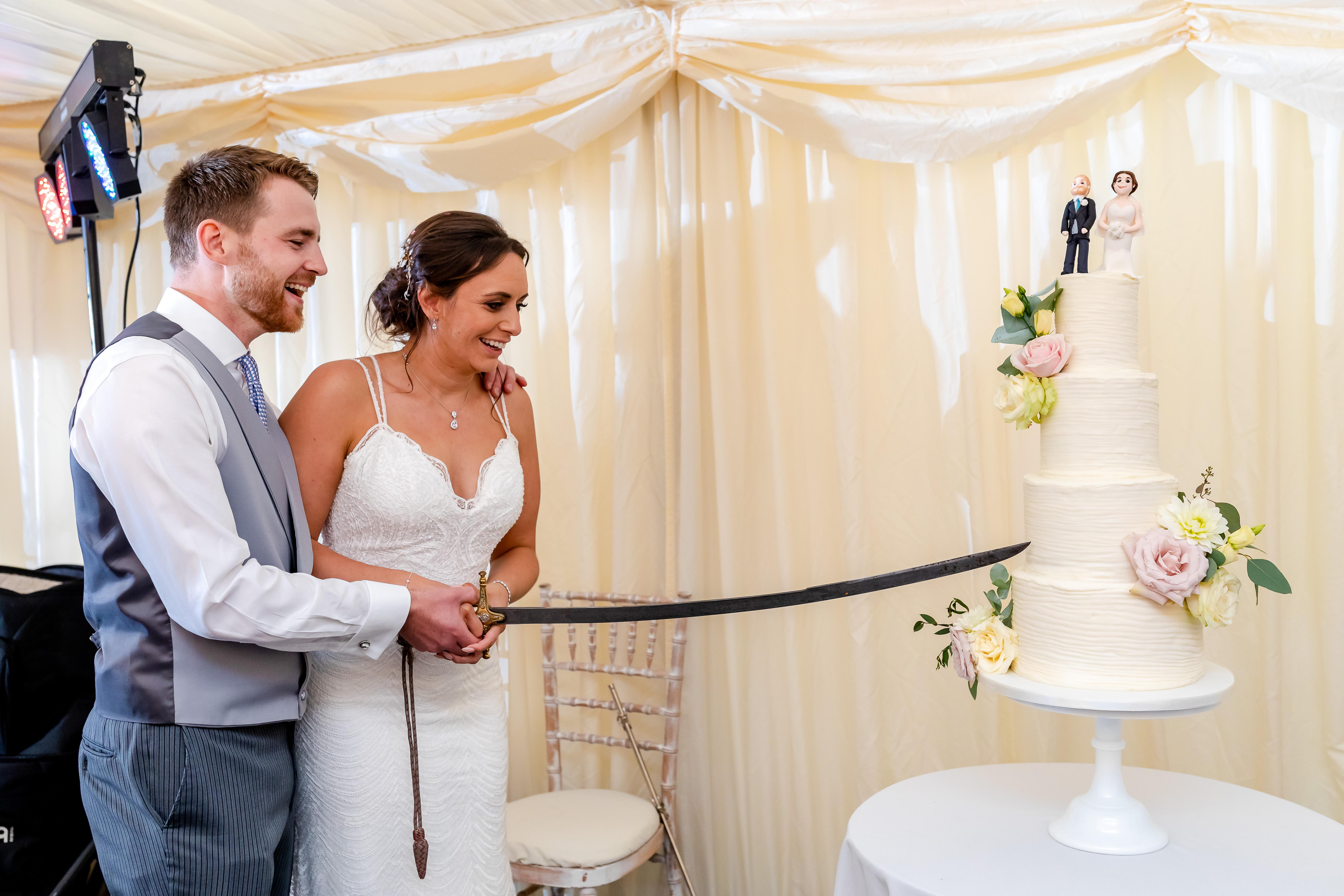 Fonmon castle wedding cutting the cake