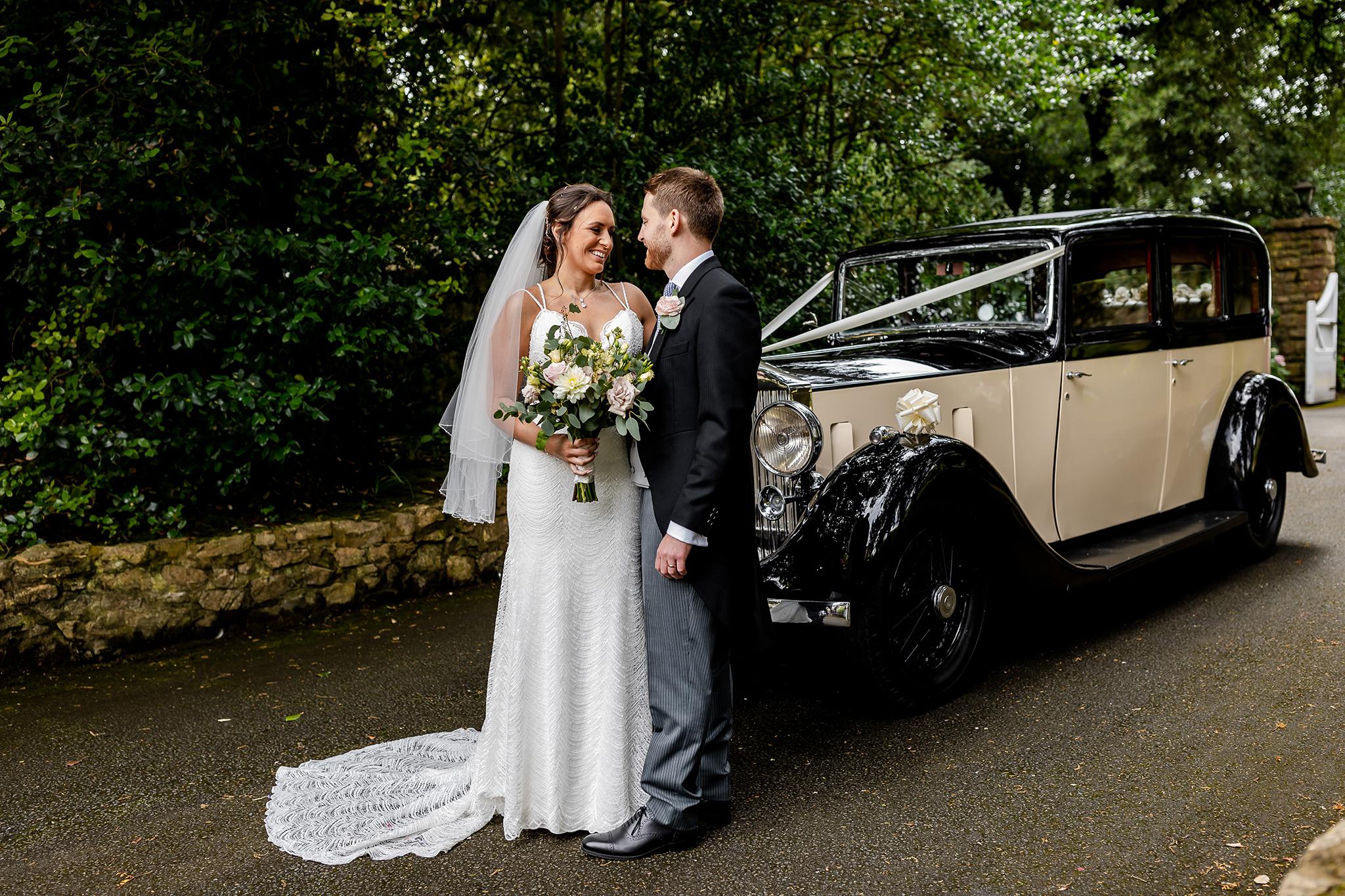 Fonmon Caslte - Bride and Groom and wedding car
