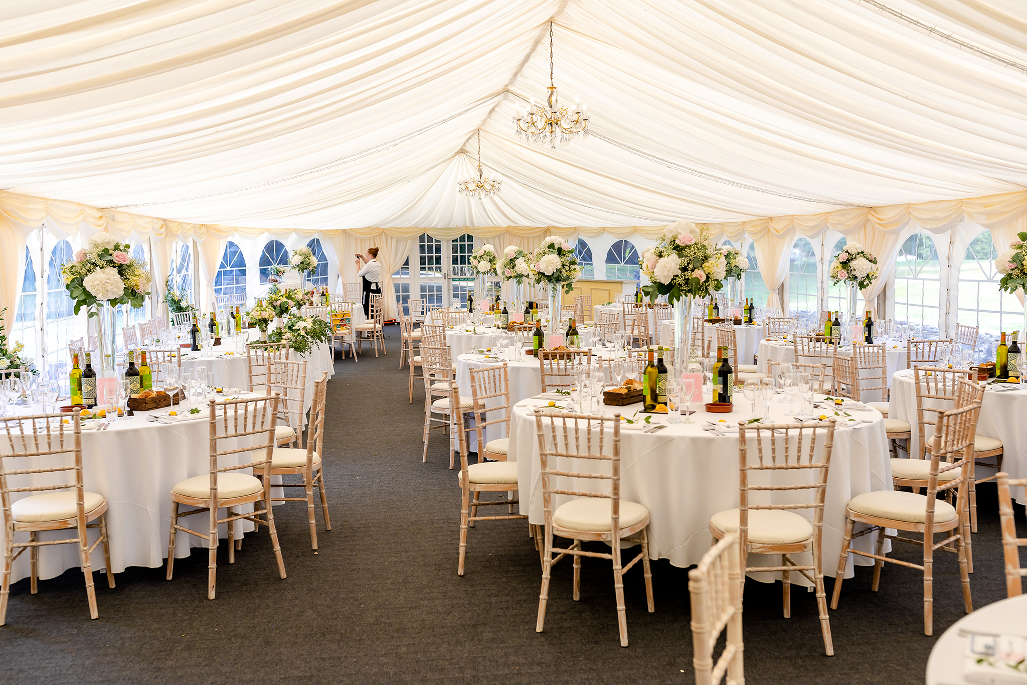 Fonmon castle wedding decorations and room