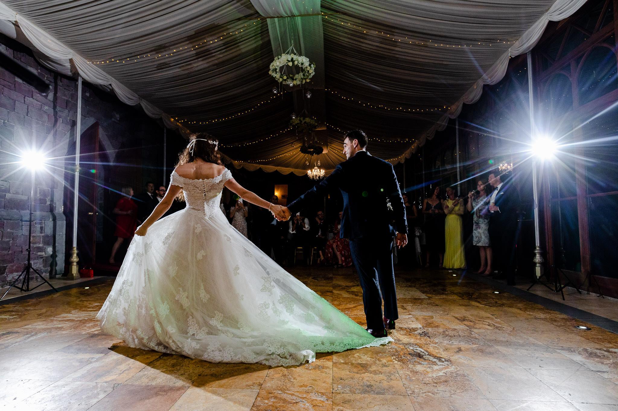 Craig y nos castle wedding photography - Bride and Groom first dance
